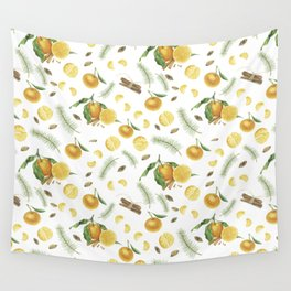 Tangerines, spices and branches of tree Wall Tapestry