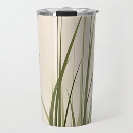 oriental style painting, tall grasses and flowers Travel Mug