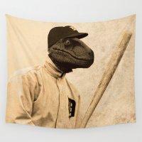 baseball Wall Tapestries featuring Baseball Velociraptor by Luigi Tarini