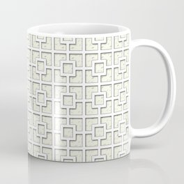 Ivory White Square Chain Patterned Design Coffee Mug
