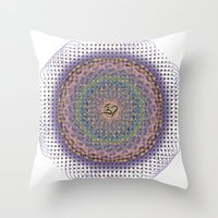 ohm Throw Pillows featuring Ohm Mandala by SRC Creations