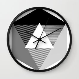 Grey Scale Print, design by Christy Nyboer Wall Clock