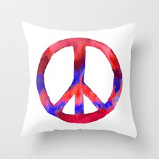 Patriotic Peace Sign Tie Dye Watercolor Throw Pillow