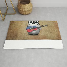 Baby Penguin Playing Haitian Flag Acoustic Guitar Rug