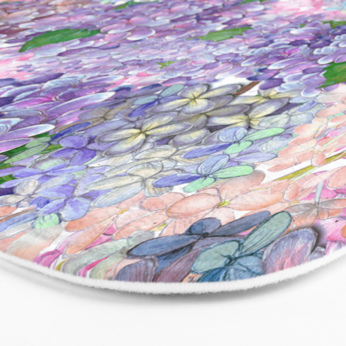 Purple and blue Lilac & Hydrangea - Flower Design Bath Mat