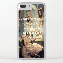 freedom, books, flowers and the moon Clear iPhone Case