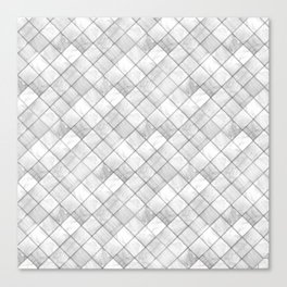 Faux Patchwork Quilting - White & Silver Pattern Canvas Print