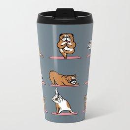 English Bulldog Yoga Metal Travel Mug