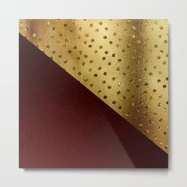 Red Leather look & gold polka Metal Print