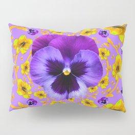 PANSIES YELLOW BUTTERFLIES & FLOWERS GARDEN Pillow Sham