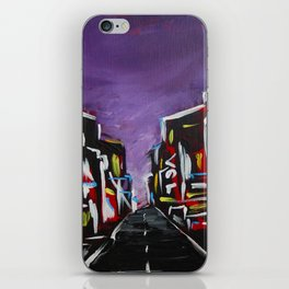 An Empty Street in an Asian City At Night iPhone Skin