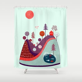 BLUE PURPLE HILL Shower Curtain
