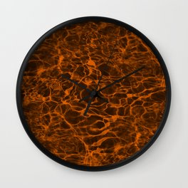 Neon Orange Underwater Wavy Rippling Water Cloudy Flaming Smoke Smokey Water Wall Clock