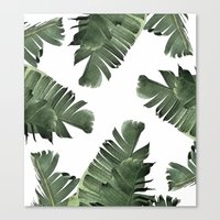 banana leaf Canvas Prints featuring Banana Leaf Frenzy #society6 by 83 Oranges™
