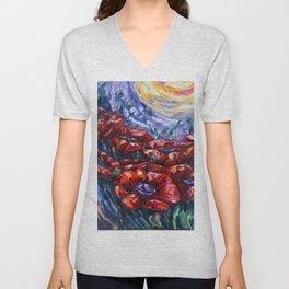 Impressionist Field Poppies by OLena Art Unisex V-Neck