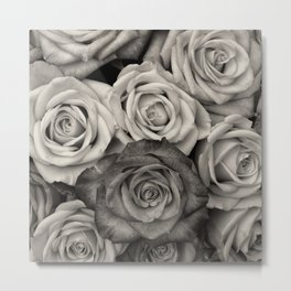 Black and White Rose Bouquet Metal Print