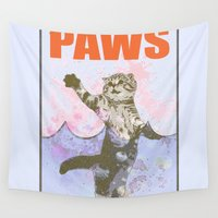 jaws Wall Tapestries featuring paws / Jaws by tshirtsz