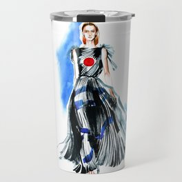 fashion #47: a girl in black dress with red round on chest Travel Mug