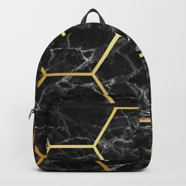 Golden black MARBLE and HONEYCOMB Backpack