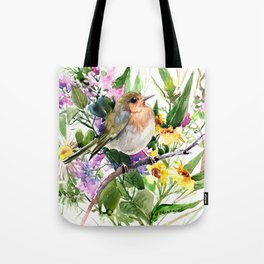 Robin and Summer Flowers Tote Bag