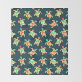 Cute Flower Child Hippy Turtles Throw Blanket