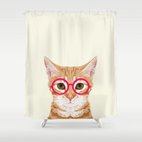 meme Shower Curtains featuring Ginger - Cute cat with glasses hipster cat art for dorm college decor funny cat lady meme by PetFriendly