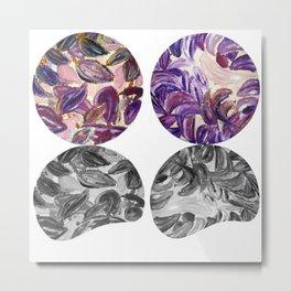 DRIP DRIP DRIP Purple Leaves Shadow Black and White Metal Print