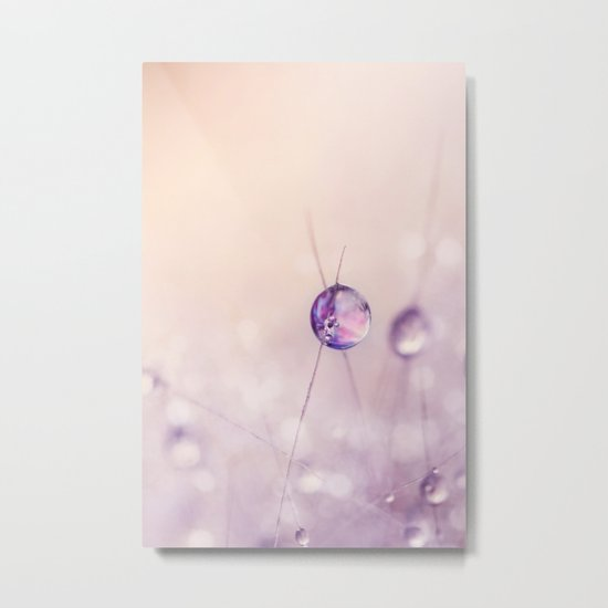 Cactus Drop in Soft Pink Metal Print