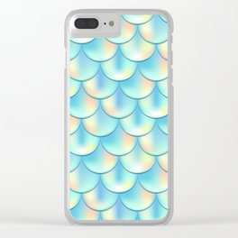 Teal Green Mermaid Pattern, Holographic Fish Scale Print Clear iPhone Case