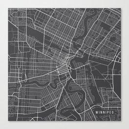 Winnipeg Map, Canada - Gray Canvas Print
