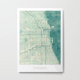 Chicago Map Blue Vintage Metal Print