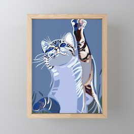 Cat in the blue Framed Mini Art Print