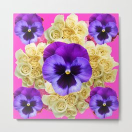 PURPLE PANSY FLOWERS & IVORY ROSES  PINK ART Metal Print
