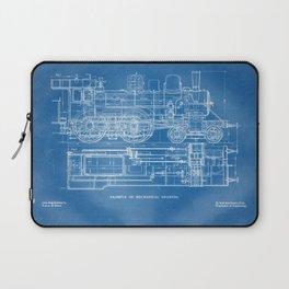 Steam Train Diagram - Blueprint Style Laptop Sleeve