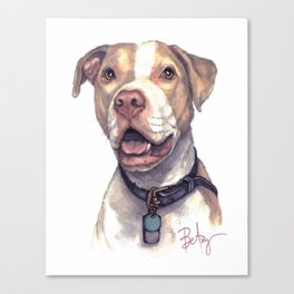 """LuThor Wallace: """"Red Nose"""" Rescue Pitbull Canvas Print"""