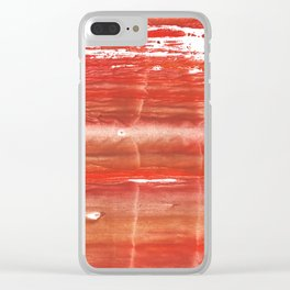 Rowan red stained watercolor texture Clear iPhone Case