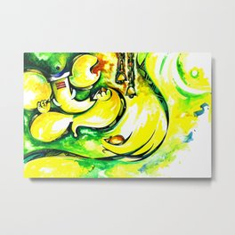 Hindu Lord Ganesha Handmade Water Color Painting Metal Print