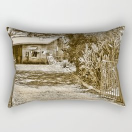 Stone lions guarding a Country Palace Rectangular Pillow