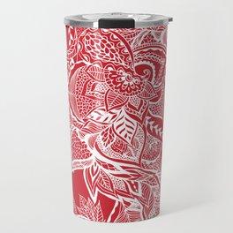 Modern red flame scarlet white hand drawn floral mandala pattern Travel Mug