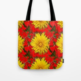 YELLOW DANDELION BLOSSOMS ON RED ORGANIC ART Tote Bag