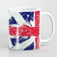 union jack Mugs featuring Union Jack  by UrbanCandy