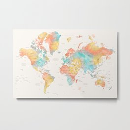 World map with countries and states, FIFI Metal Print