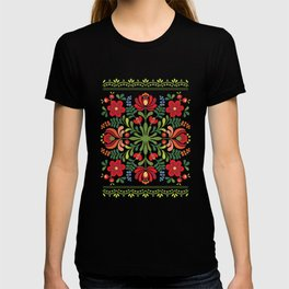 Hungarian Folk Design Red and Pink T-shirt