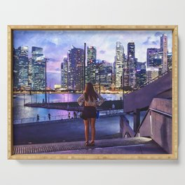 Girl in the Big City at Sunset Serving Tray