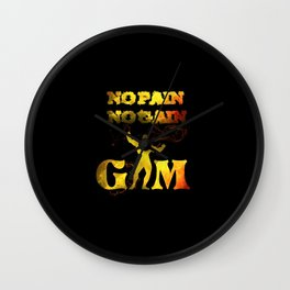 gym muscle no pain no gain Wall Clock