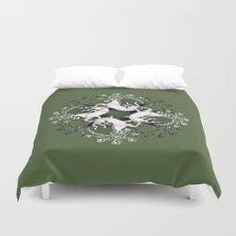 Celtic or Viking Deer Pattern - Green Duvet Cover