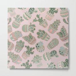 Blush pink mint green rose gold cactus floral Metal Print