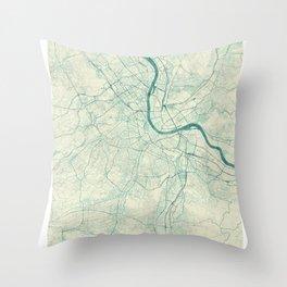 Basel Map Blue Vintage Throw Pillow