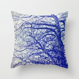 Solitary Tree in the Shadow of a Blue Moon Throw Pillow