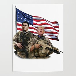 Presidential Soldiers: Ronald Reagan & Donald Trump USA Flag Poster